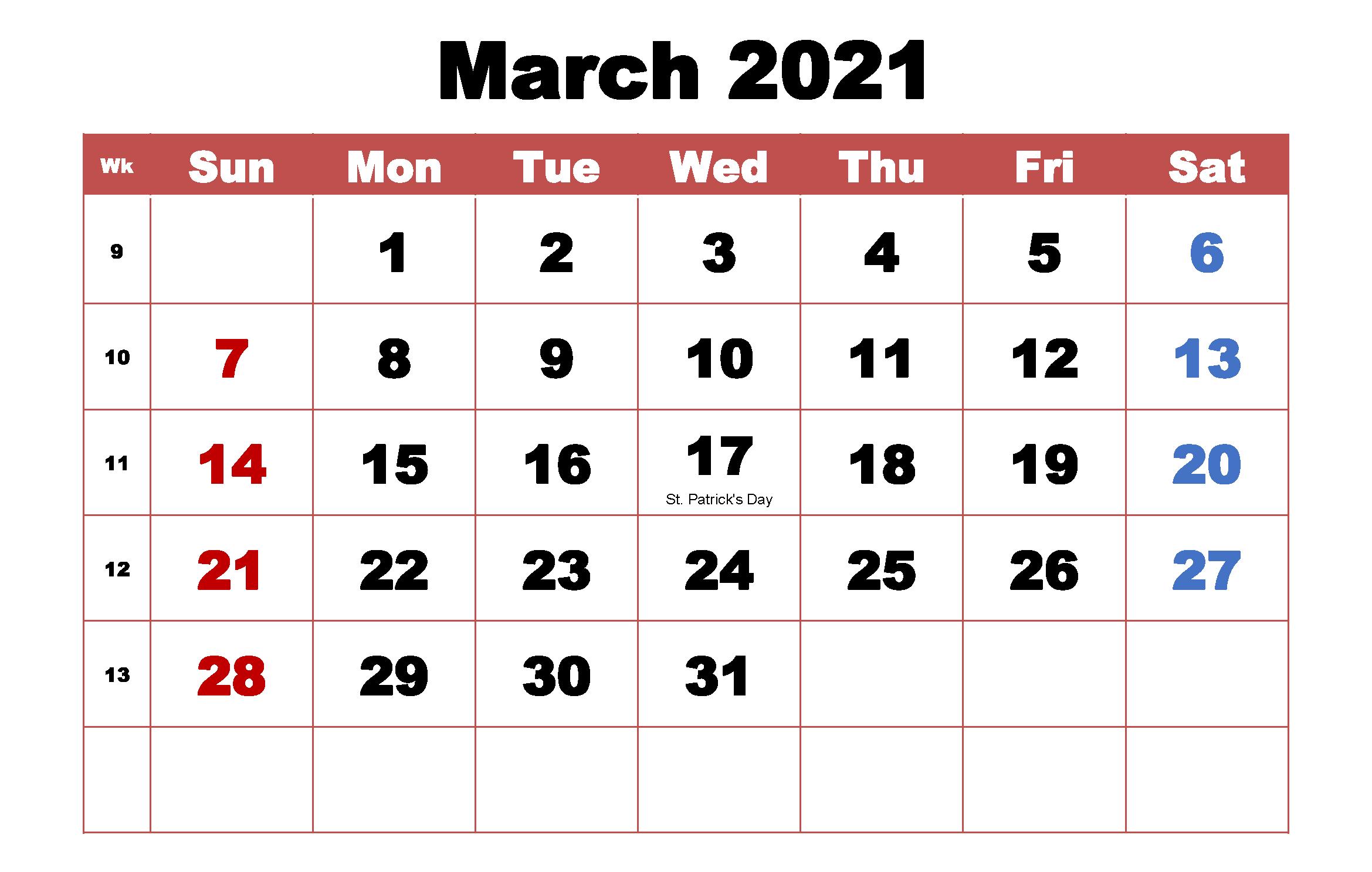 2021 Editable Calendar Printable