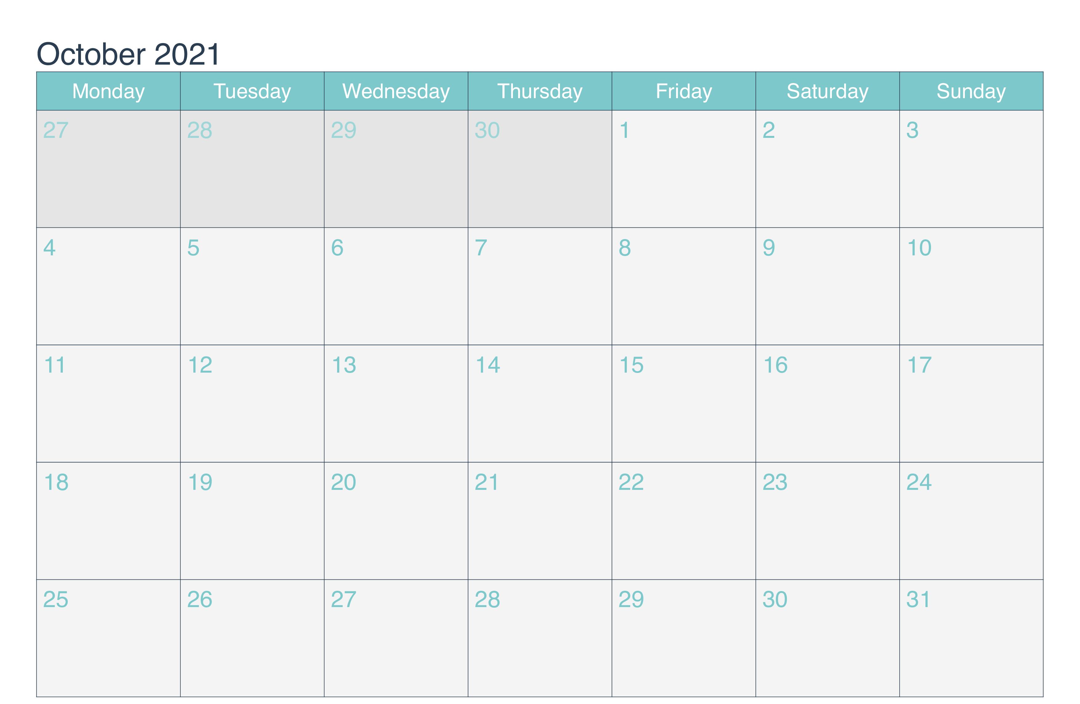2021 October Editable Calendar Word