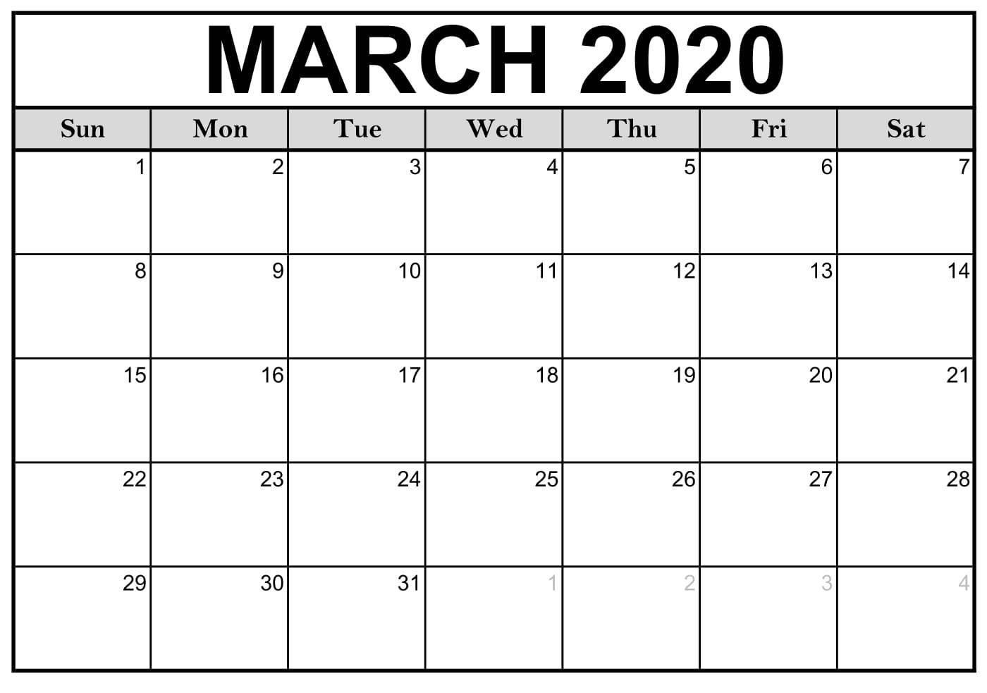 Calendar March 2020 Free Printable