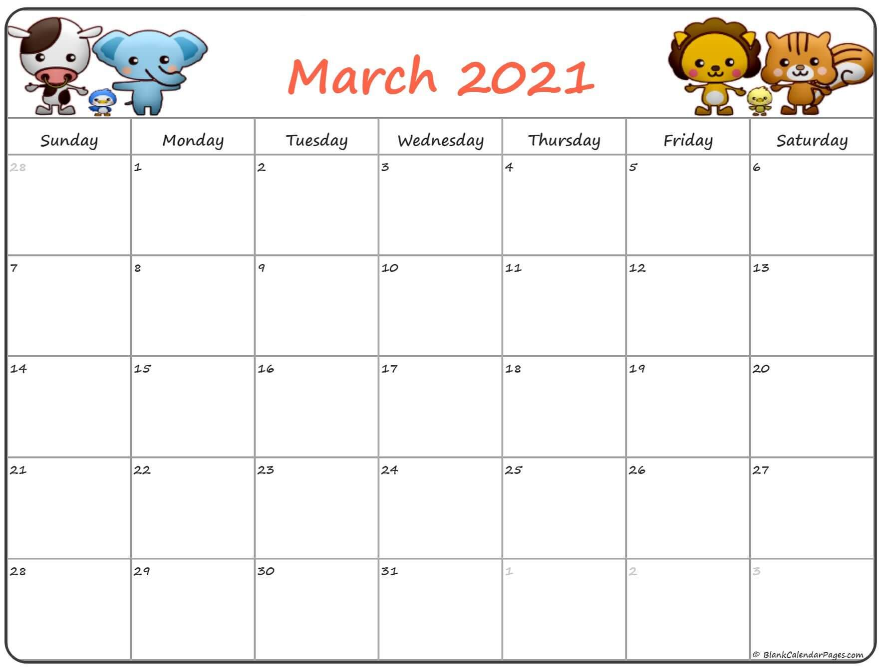 Cute March 2021 Calendar For Kids