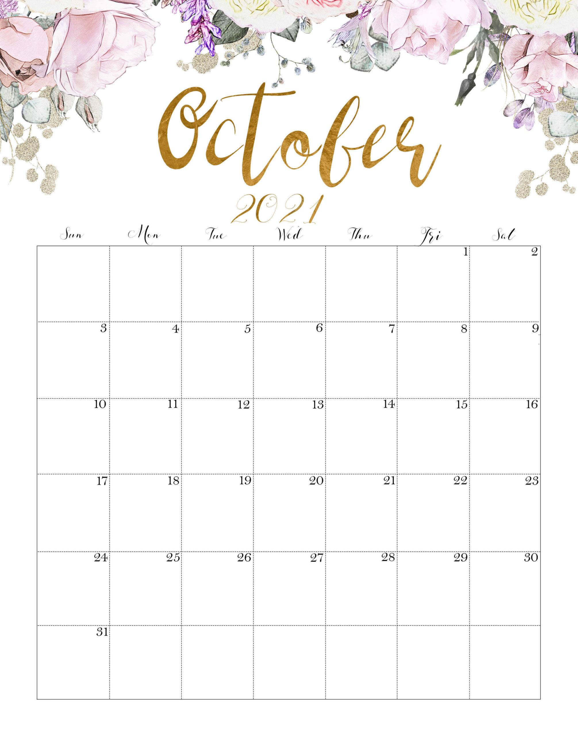 Cute October 2021 Calendar Floral