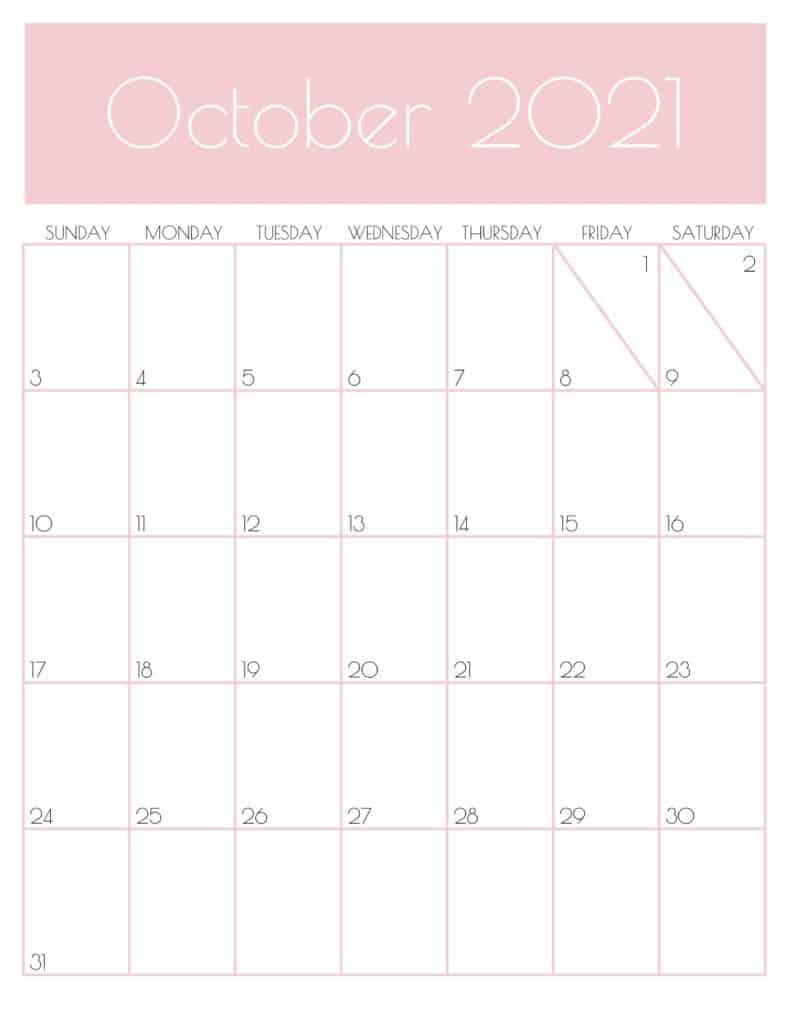 Cute October 2021 Calendar Pink Design
