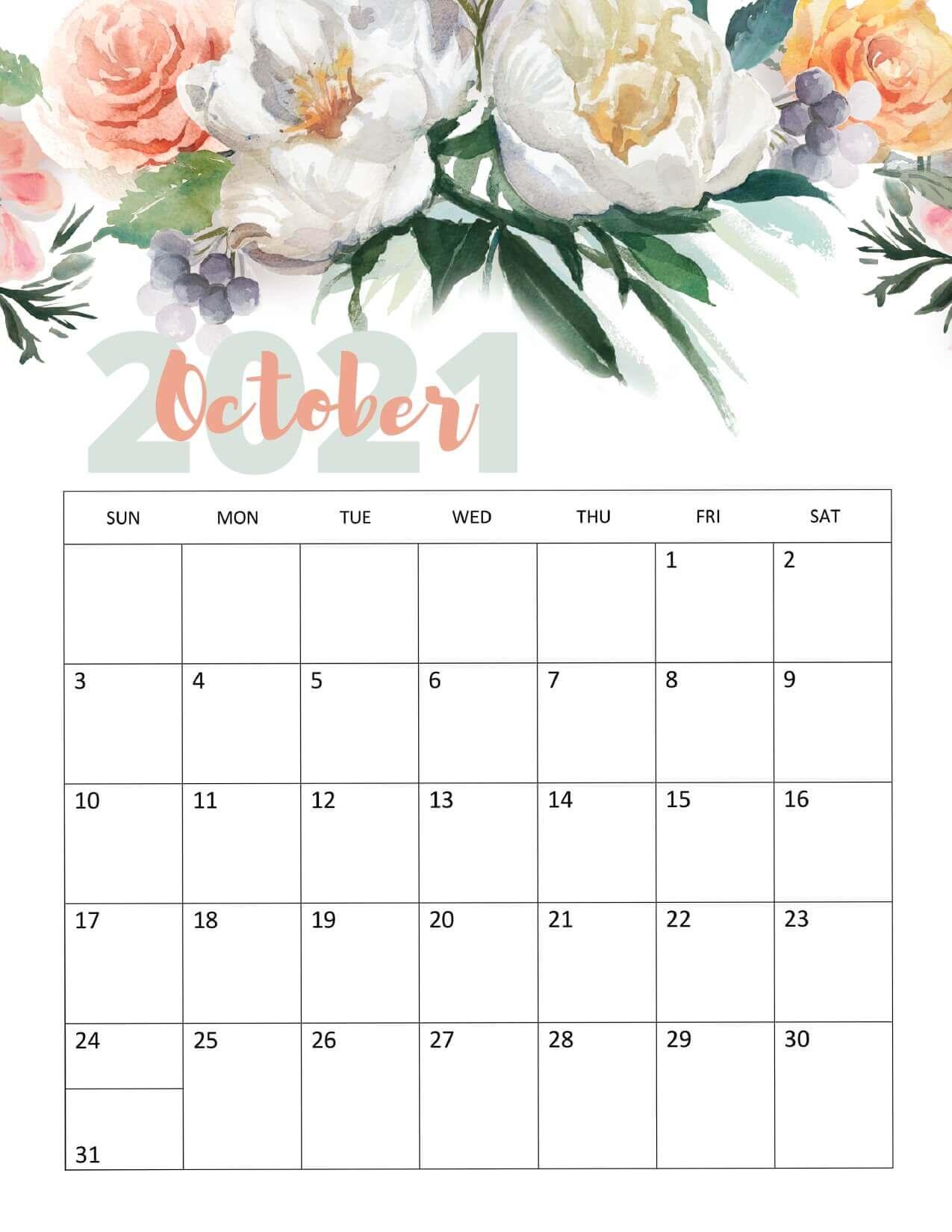 Cute October 2021 Wall Calendar