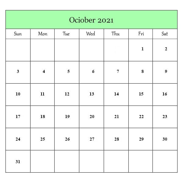 Editable Calendar For October 2021