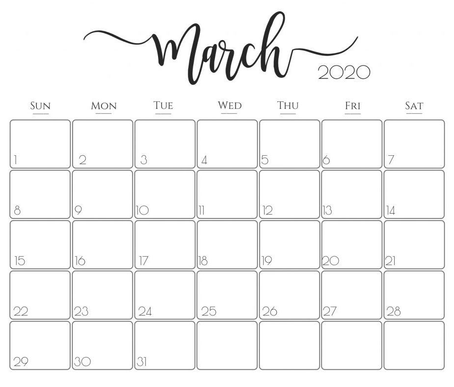 Editable Mar 2020 Calendar Blank Templates