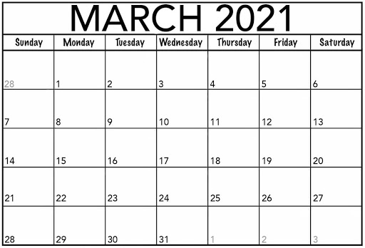 Editable Mar 2021 Calendar Blank Templates