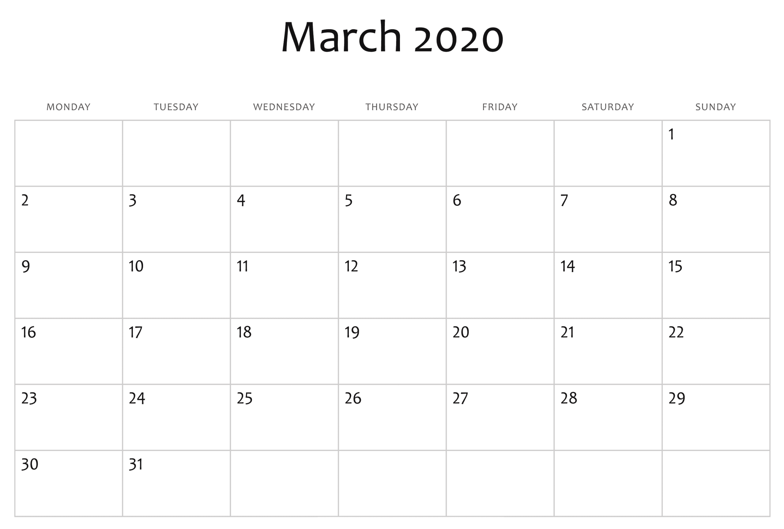 Editable March Calendar 2020 Template