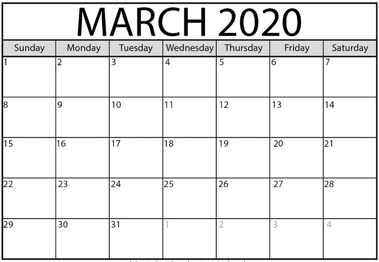 Editable March Calendar 2020