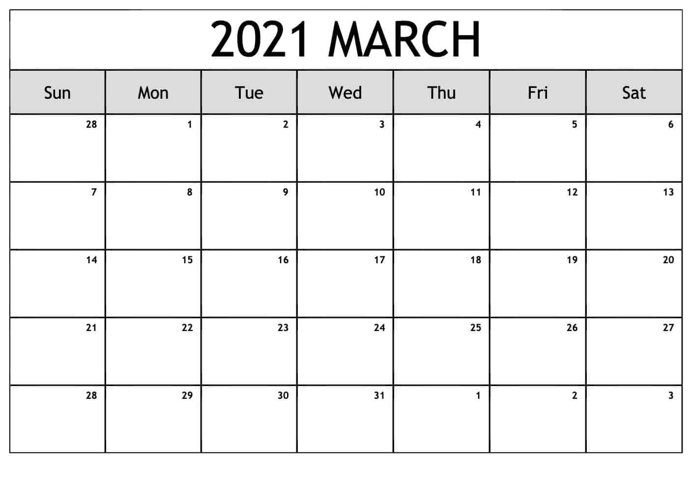 Editable March Calendar 2021 Template