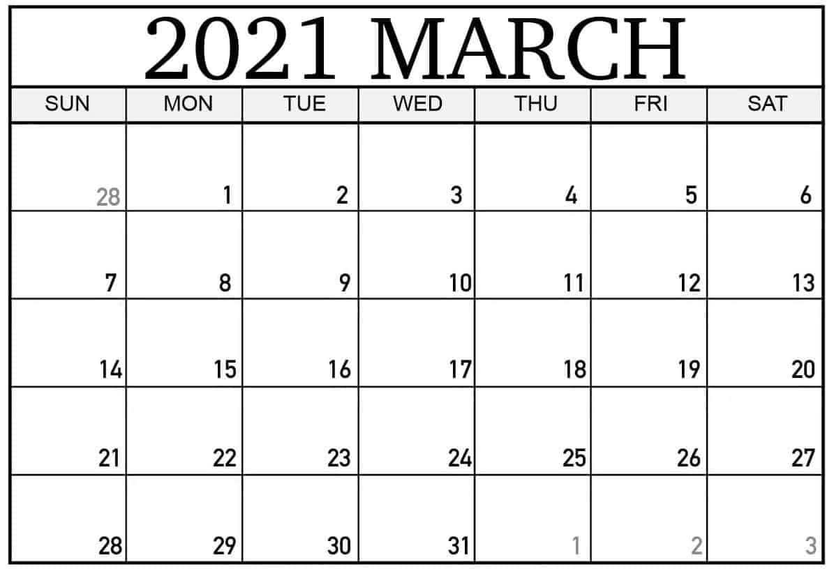 Editable March Calendar 2021