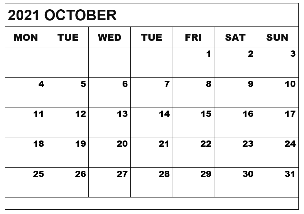 Editable October 2021 Calendar Excel
