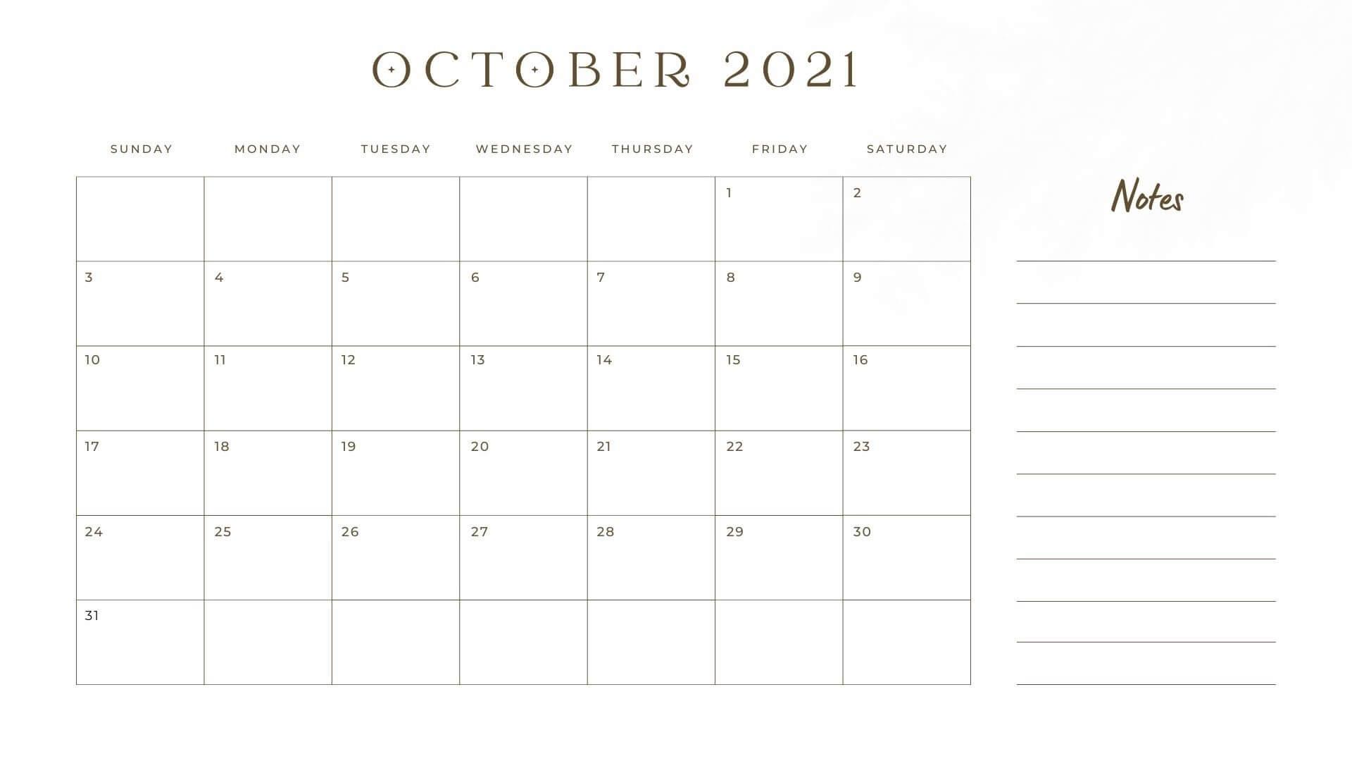 Editable october Calendar 2021 with Notes