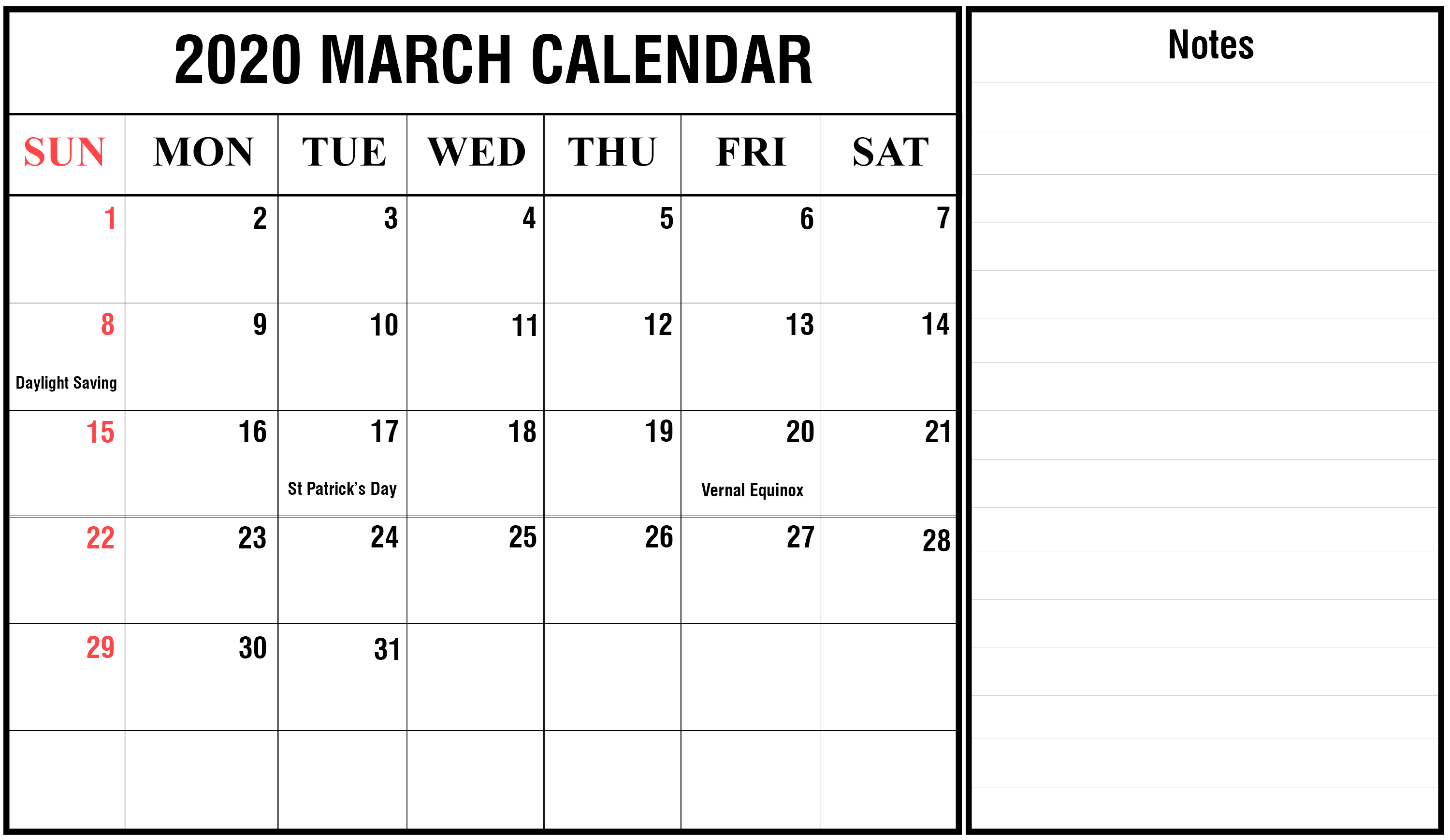 Free Editable March 2020 Calendar with Notes