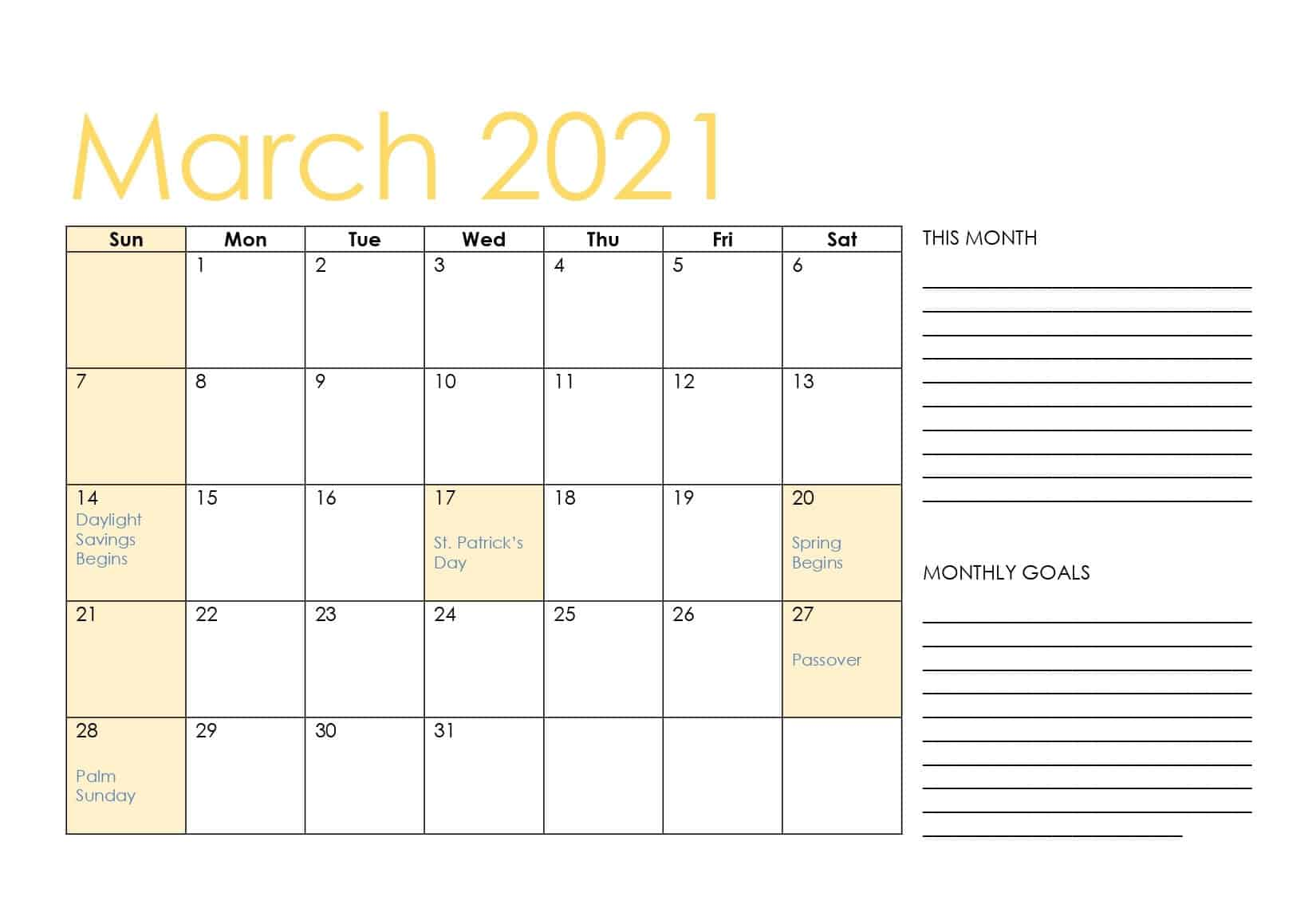 Fillable March 2021 Calendar