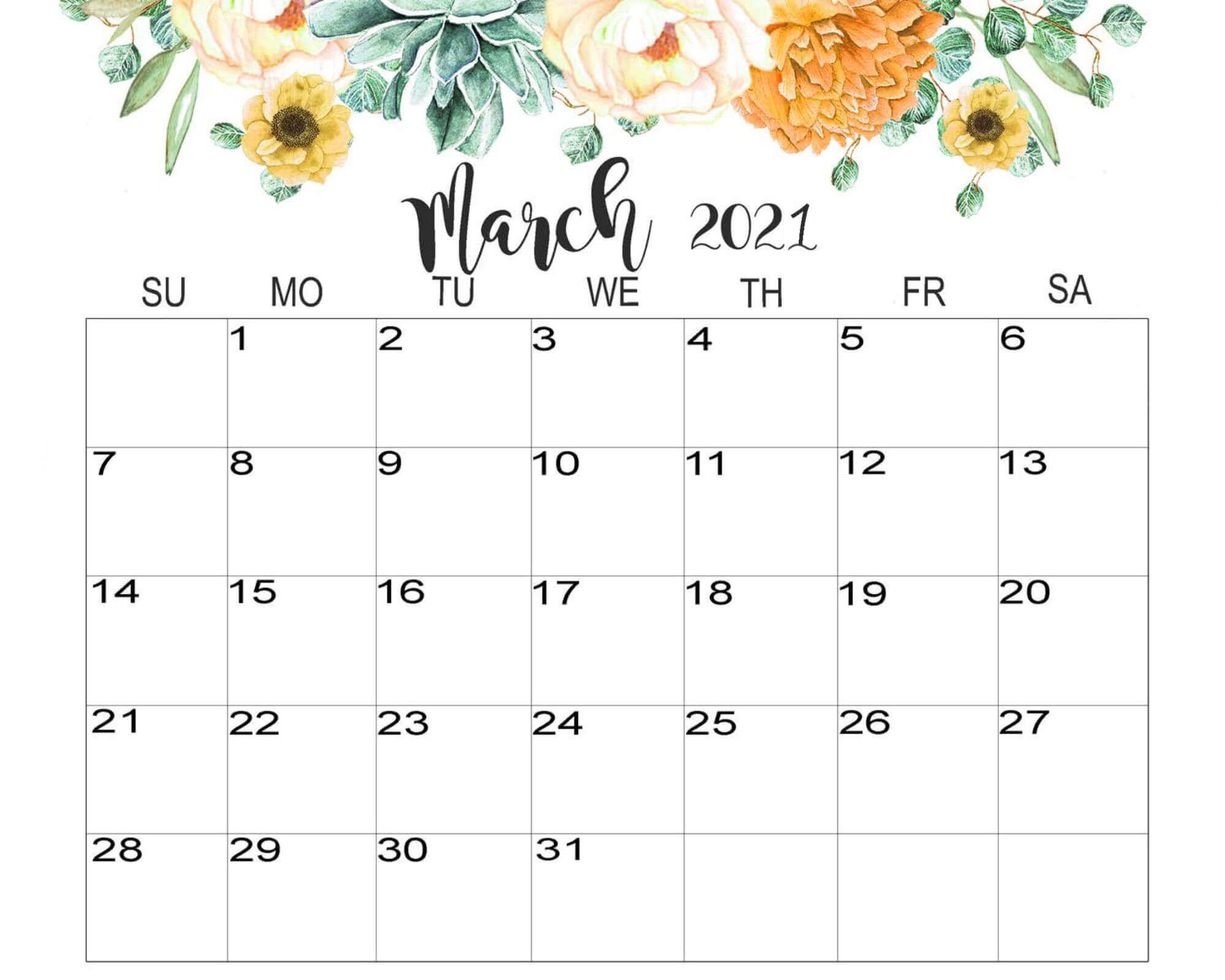 Floral March 2021 Calendar Cute