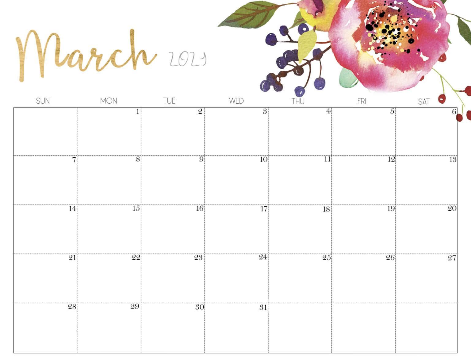 Floral March 2021 Desk Calendar