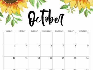Floral October 2021 Calendar Template