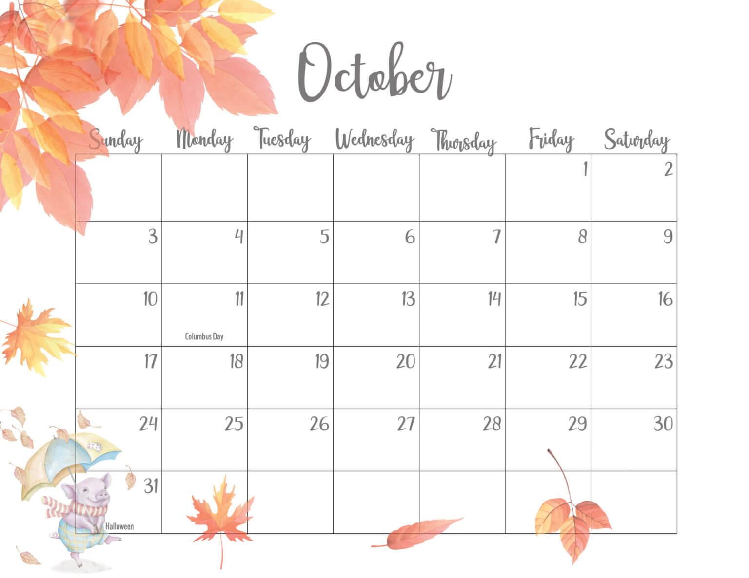 Floral October 2021 Desk Calendar