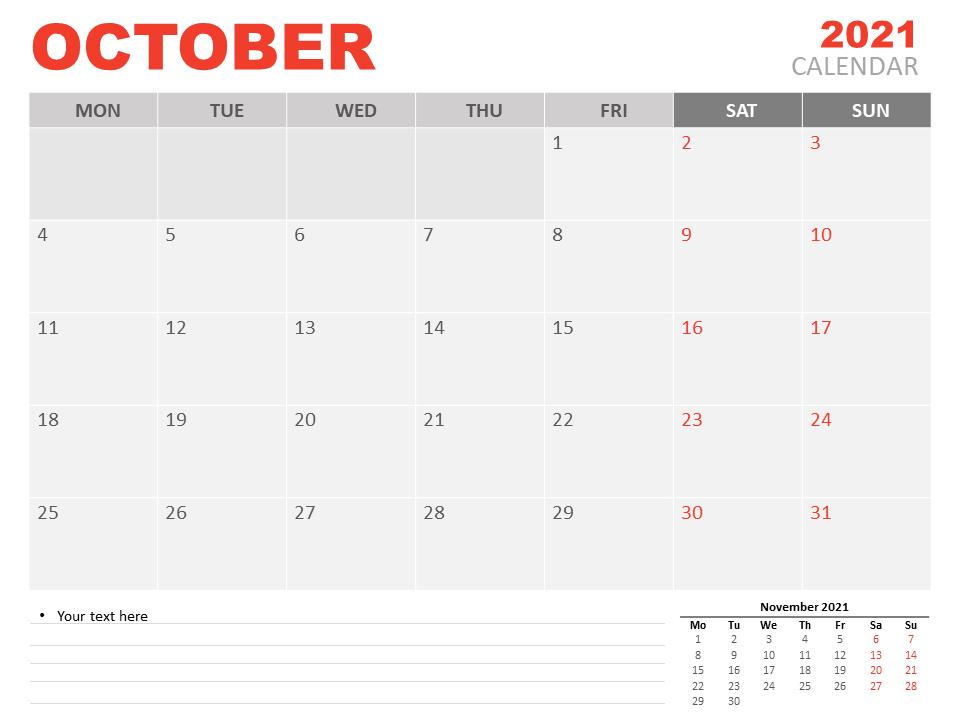 Free Editable October Calendar 2021