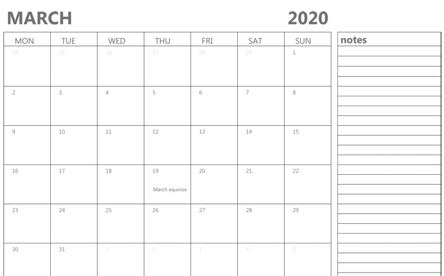 Free Printable March 2020 Editable Calendar Templates