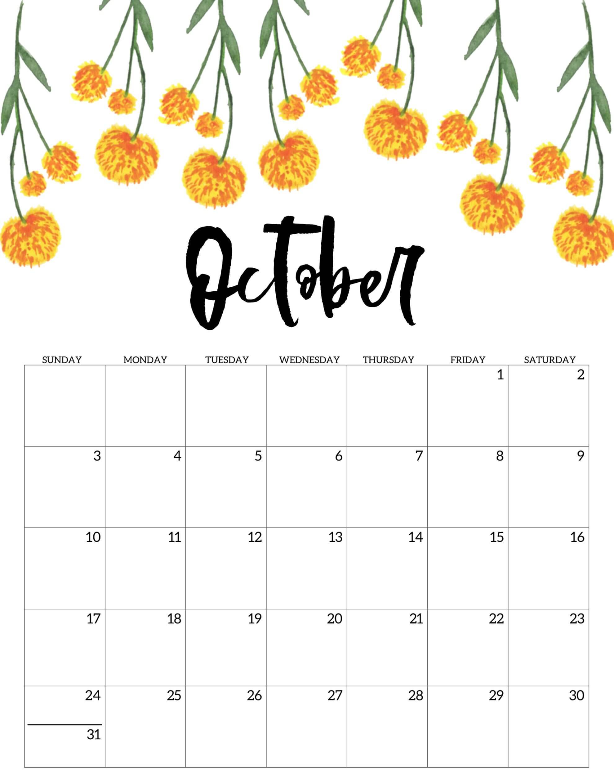 Free Printable October 2021 Calendar Floral