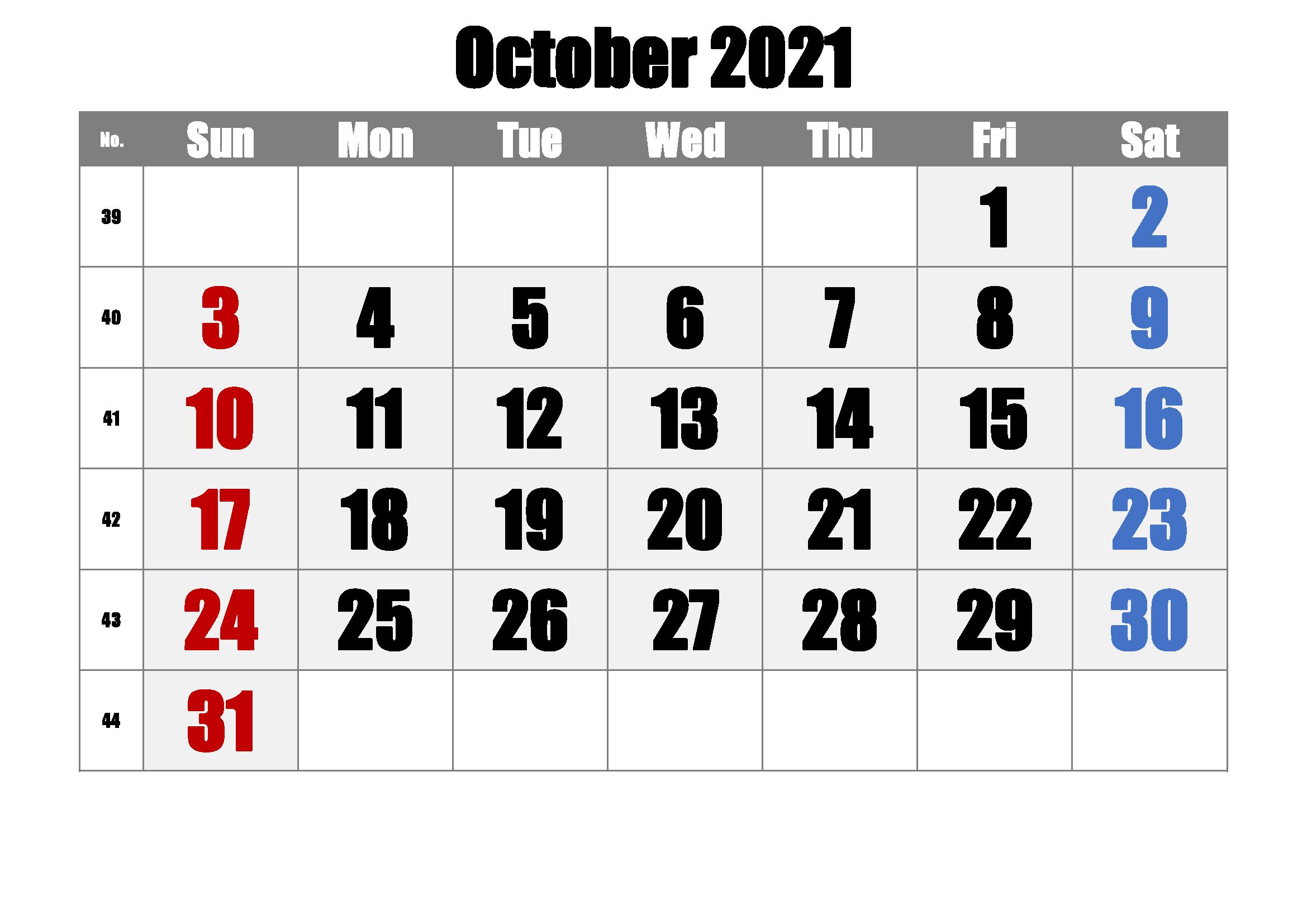 Free Printable October Editable Calendar 2021