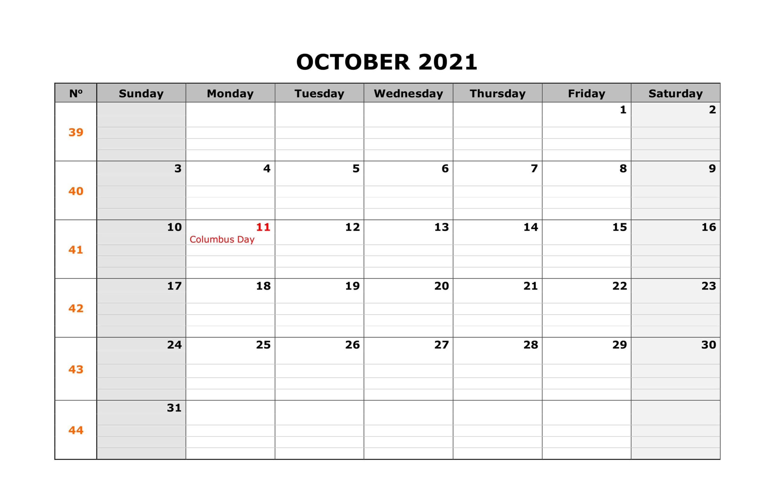 Holidays Calendar October 2021