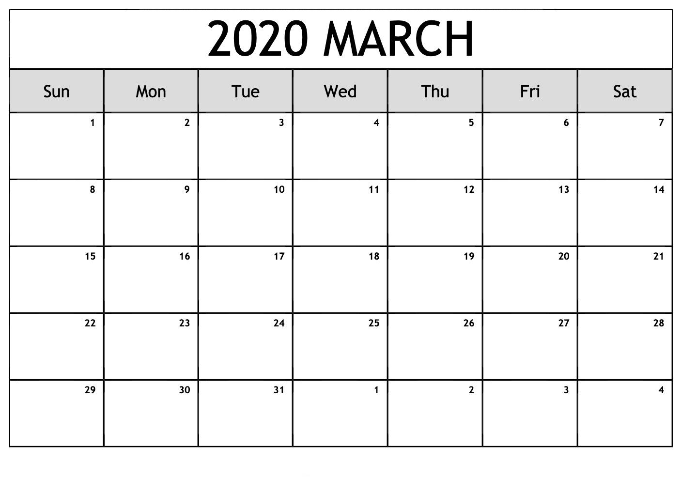 March 2020 Calendar Editable
