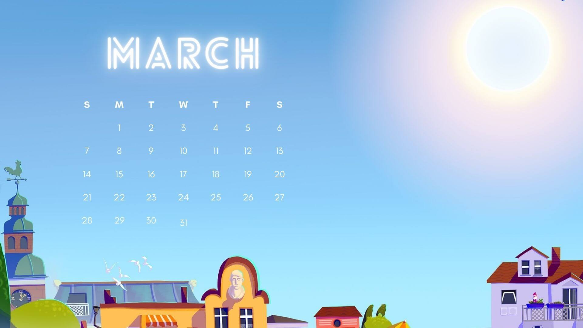March 2021 Calendar Desktop Wallpaper