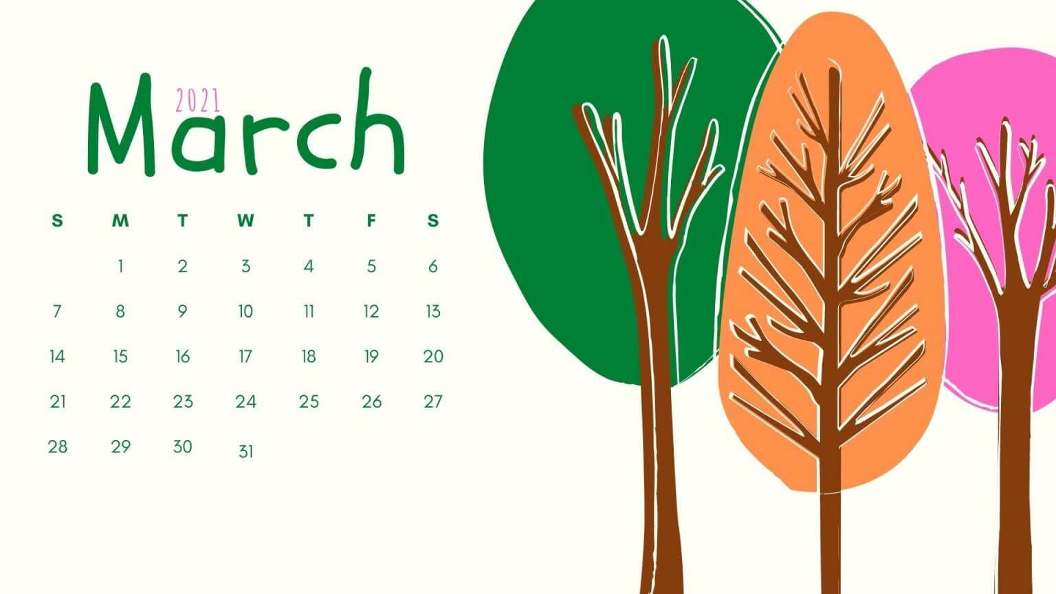 March 2021 Calendar Screensaver