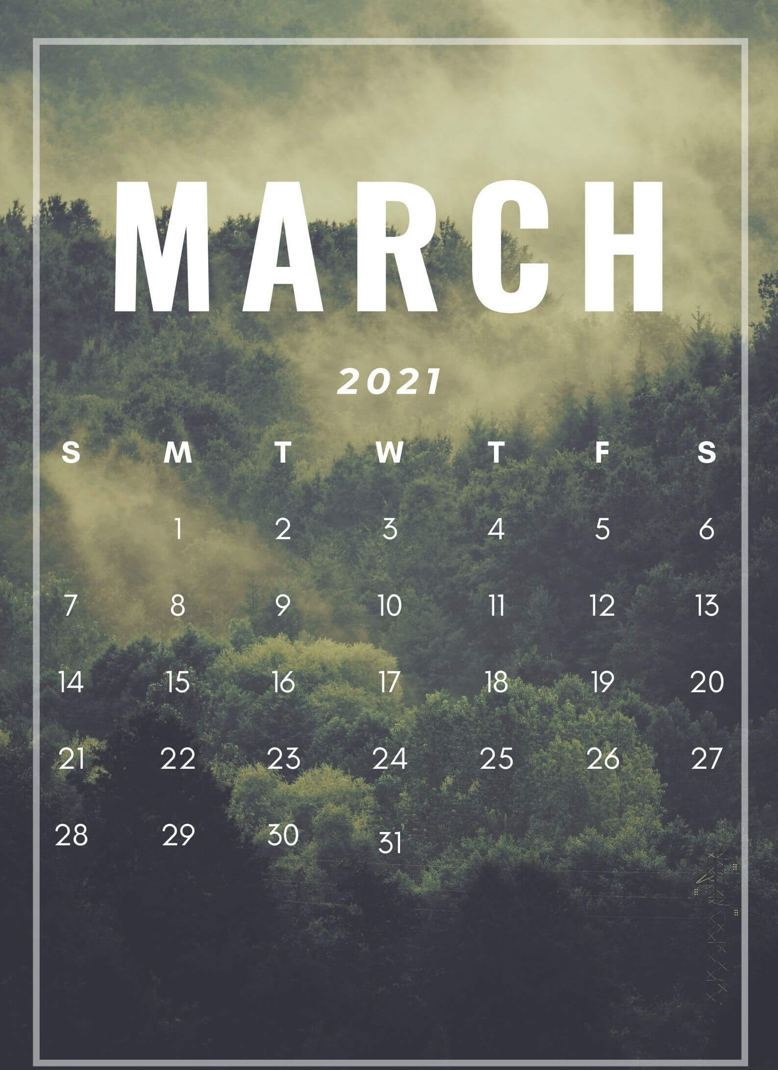 March 2021 iPhone Calendar Wallpaper