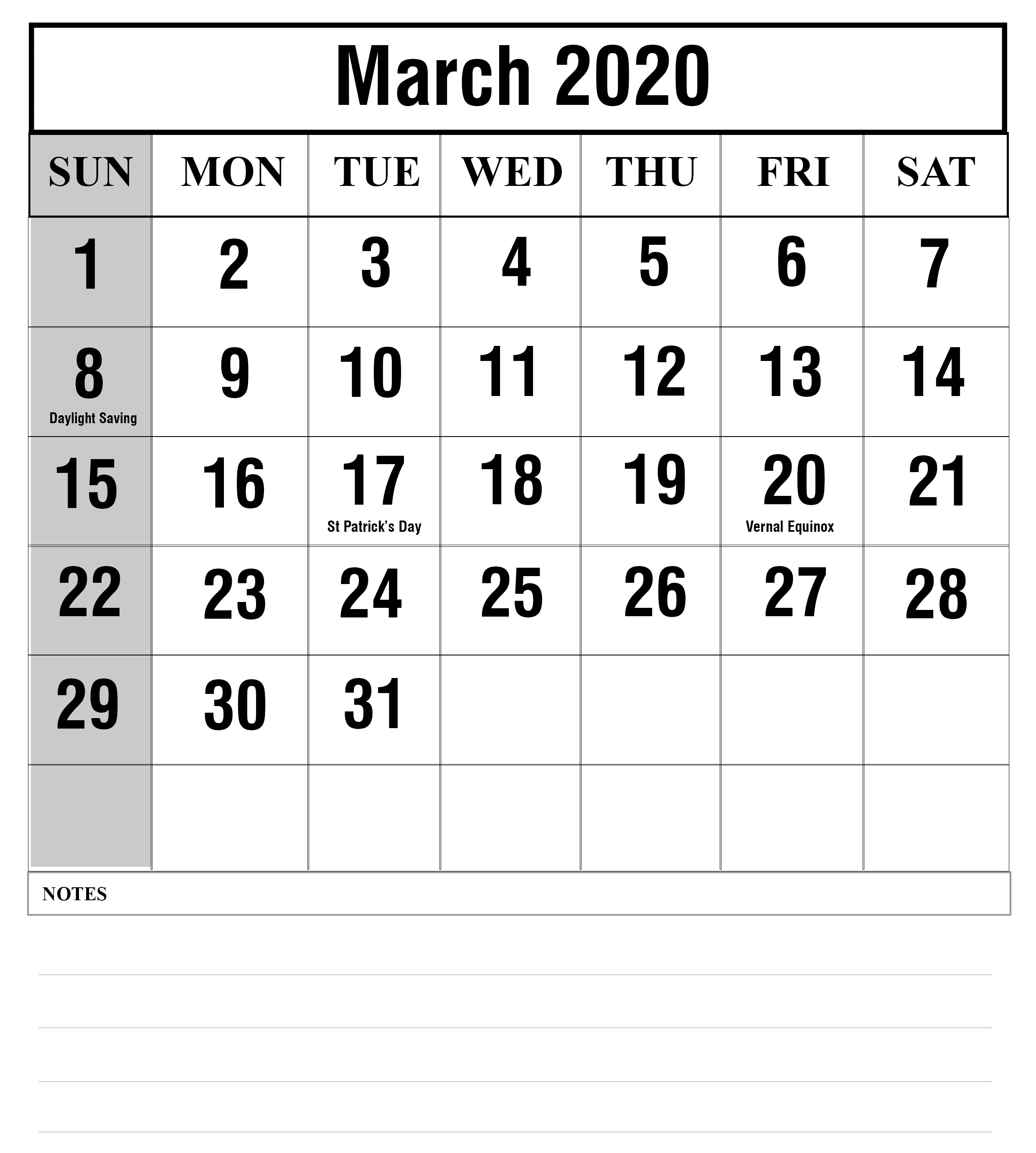 March Calendar 2020 Editable With Notes