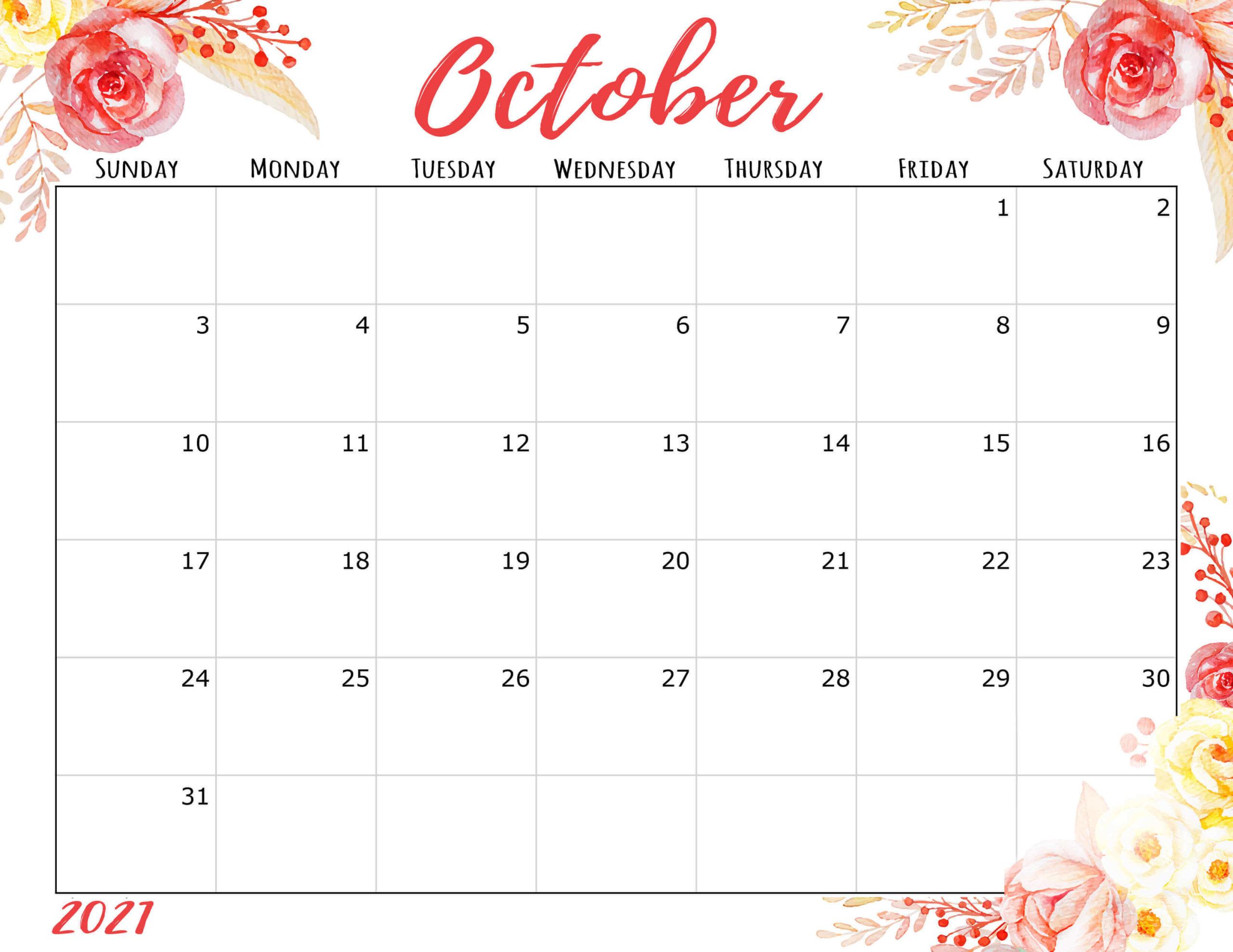 October 2021 Calendar Cute