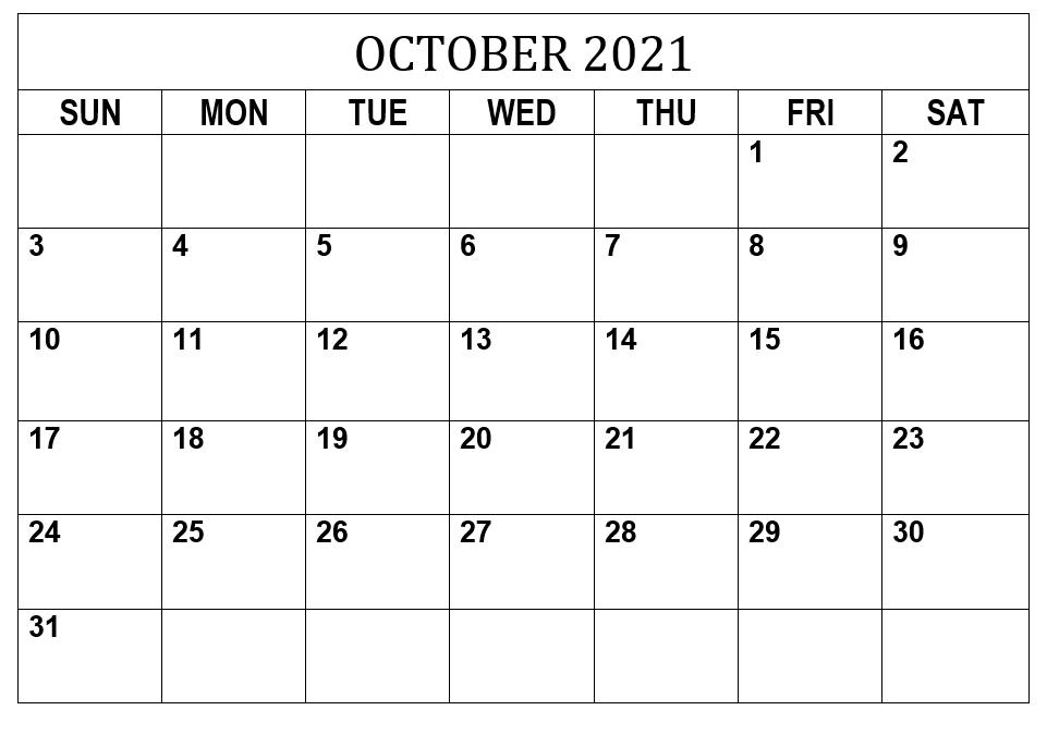 October 2021 Calendar Editable