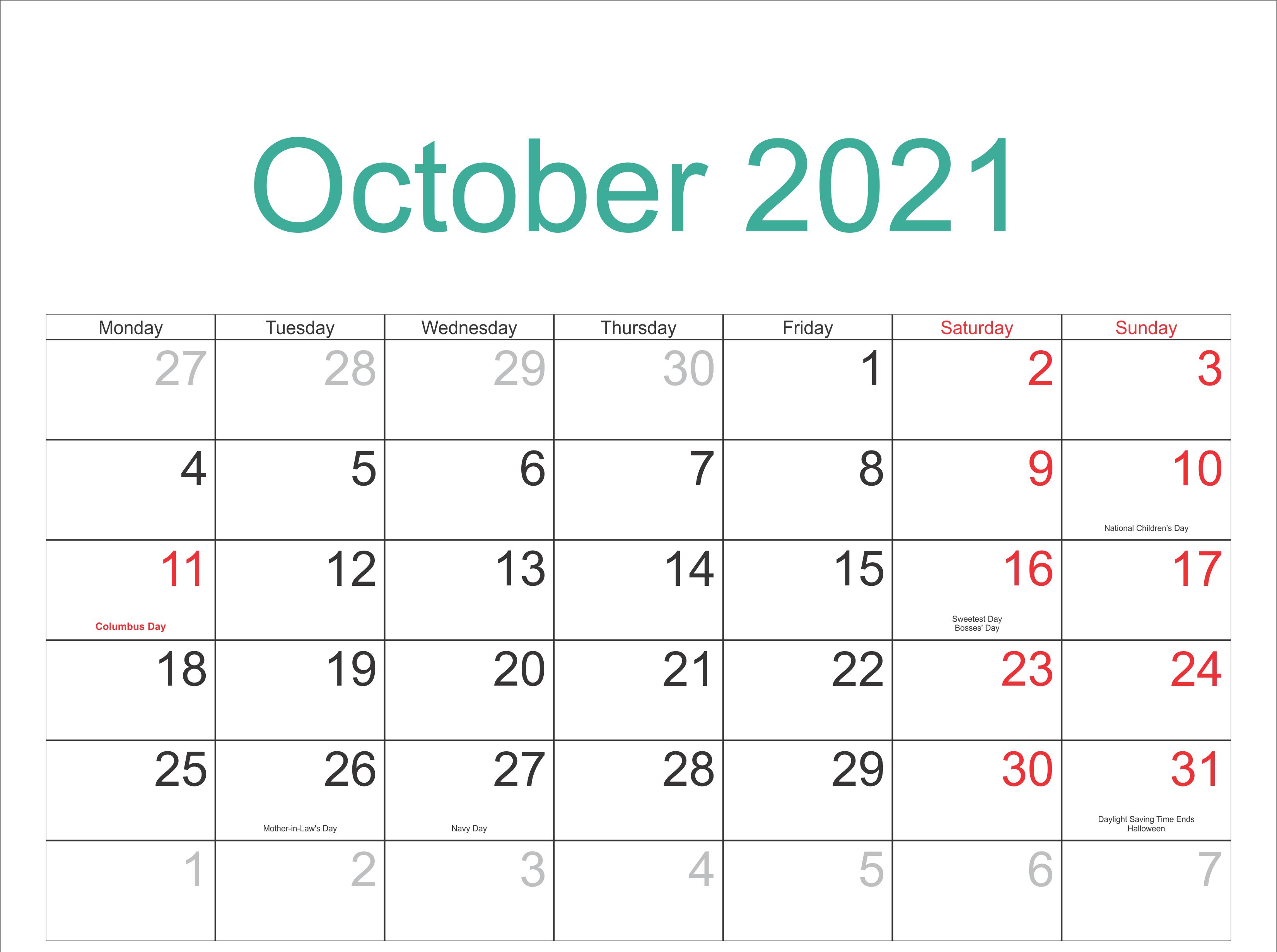 October 2021 Public Holidays Calendar