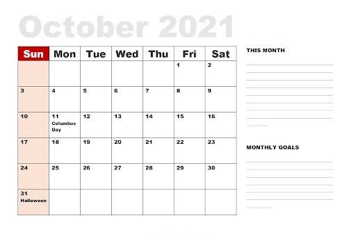October Holidays 2021 Calendar