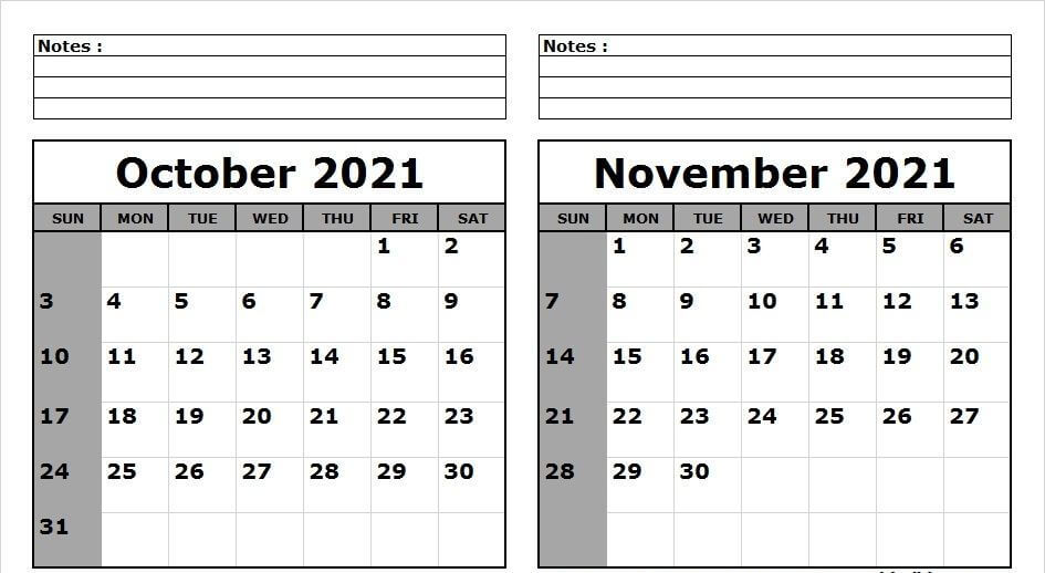October November 2021 Calendar