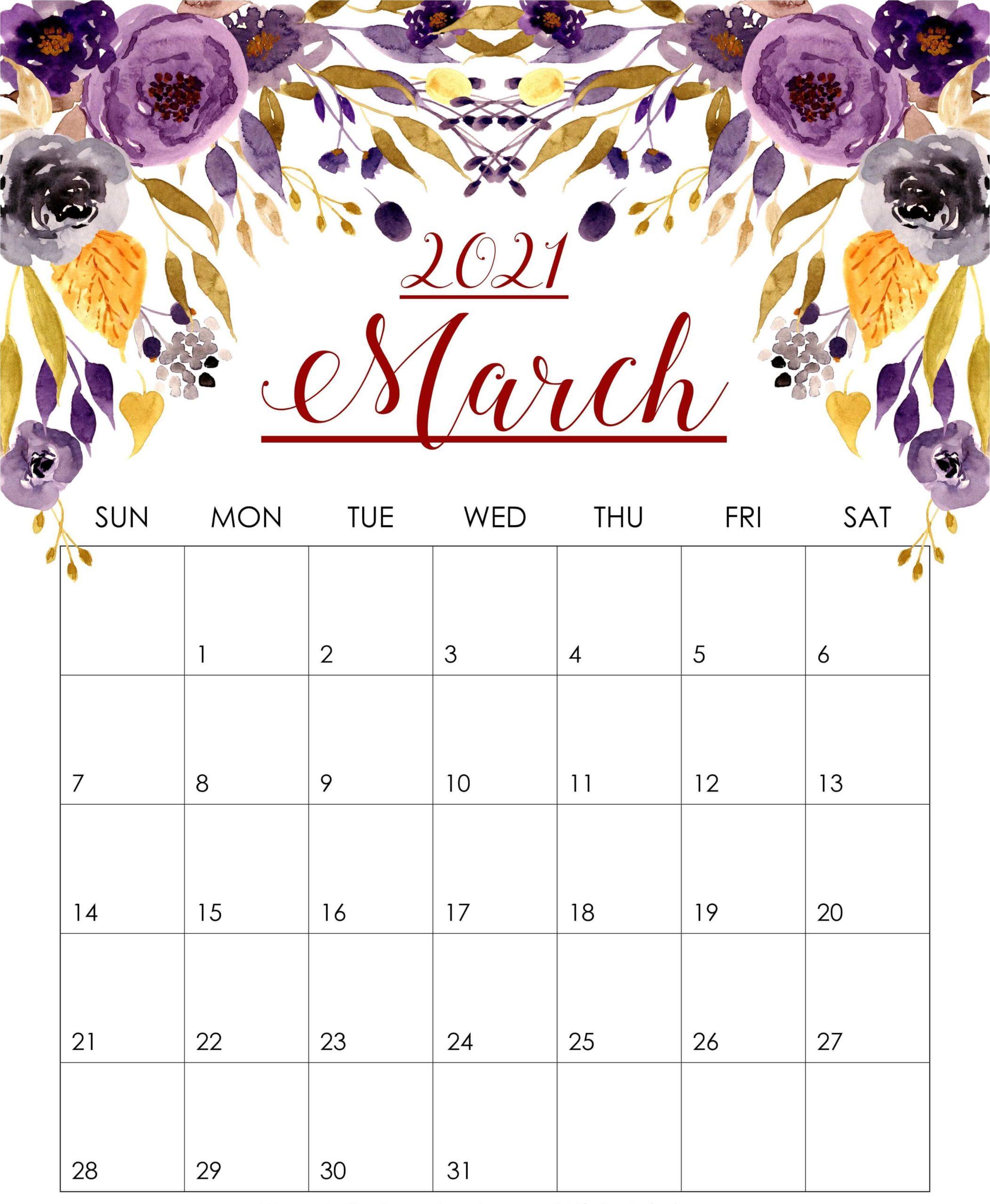 Printable March 2021 Floral Calendar