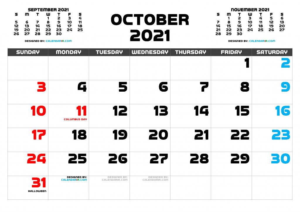 Printable October holidays calendar 2021