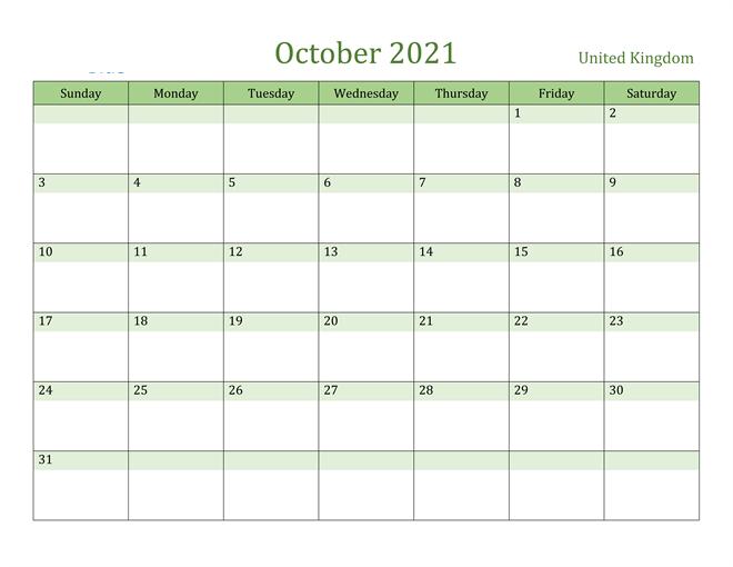 United Kingdom october 2021 holidays calendar