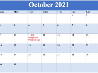 october 2021 holidays calendar template