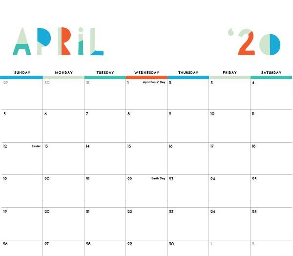 April 2020 Wall Calendar
