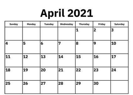 April 2021 Calendar Template