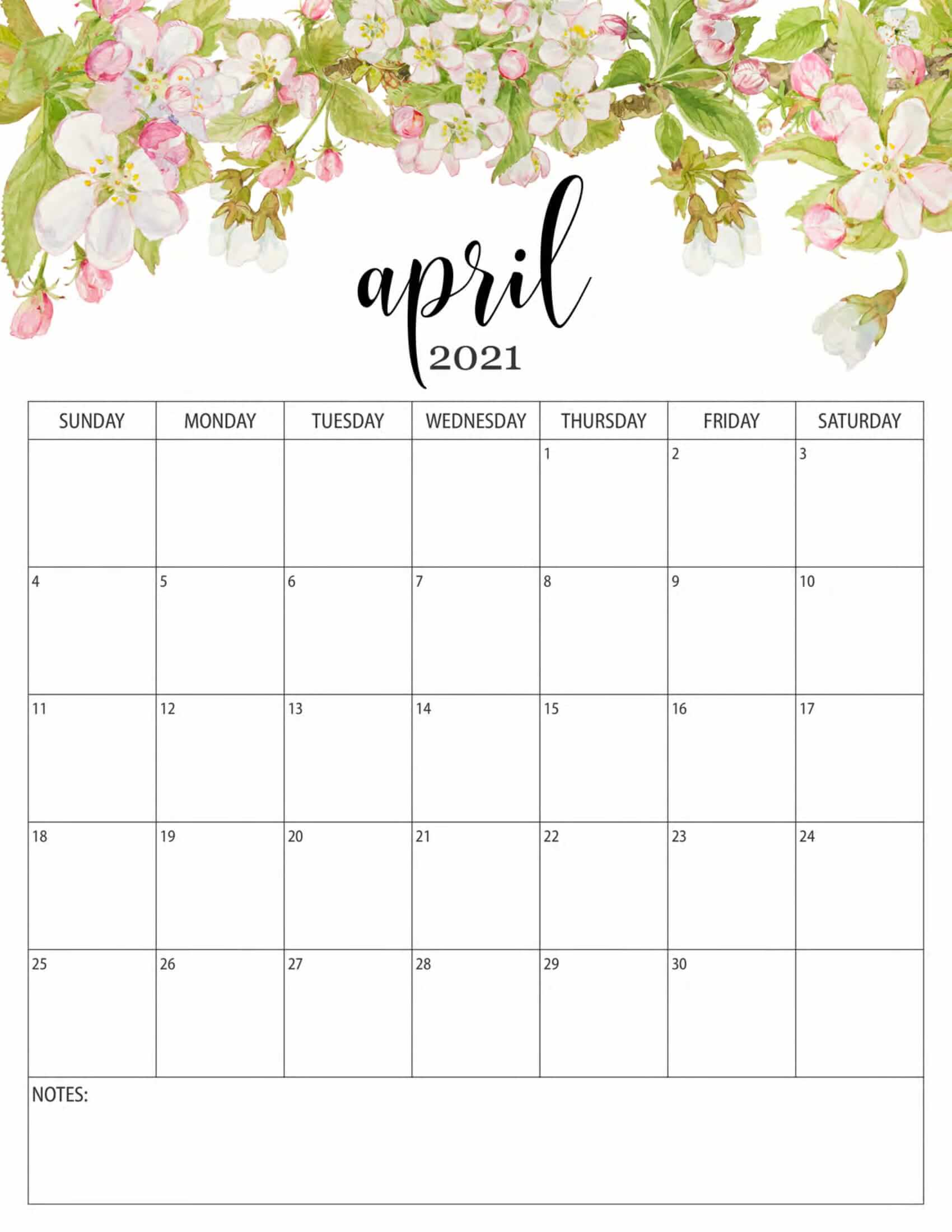 April 2021 Floral Calendar Template
