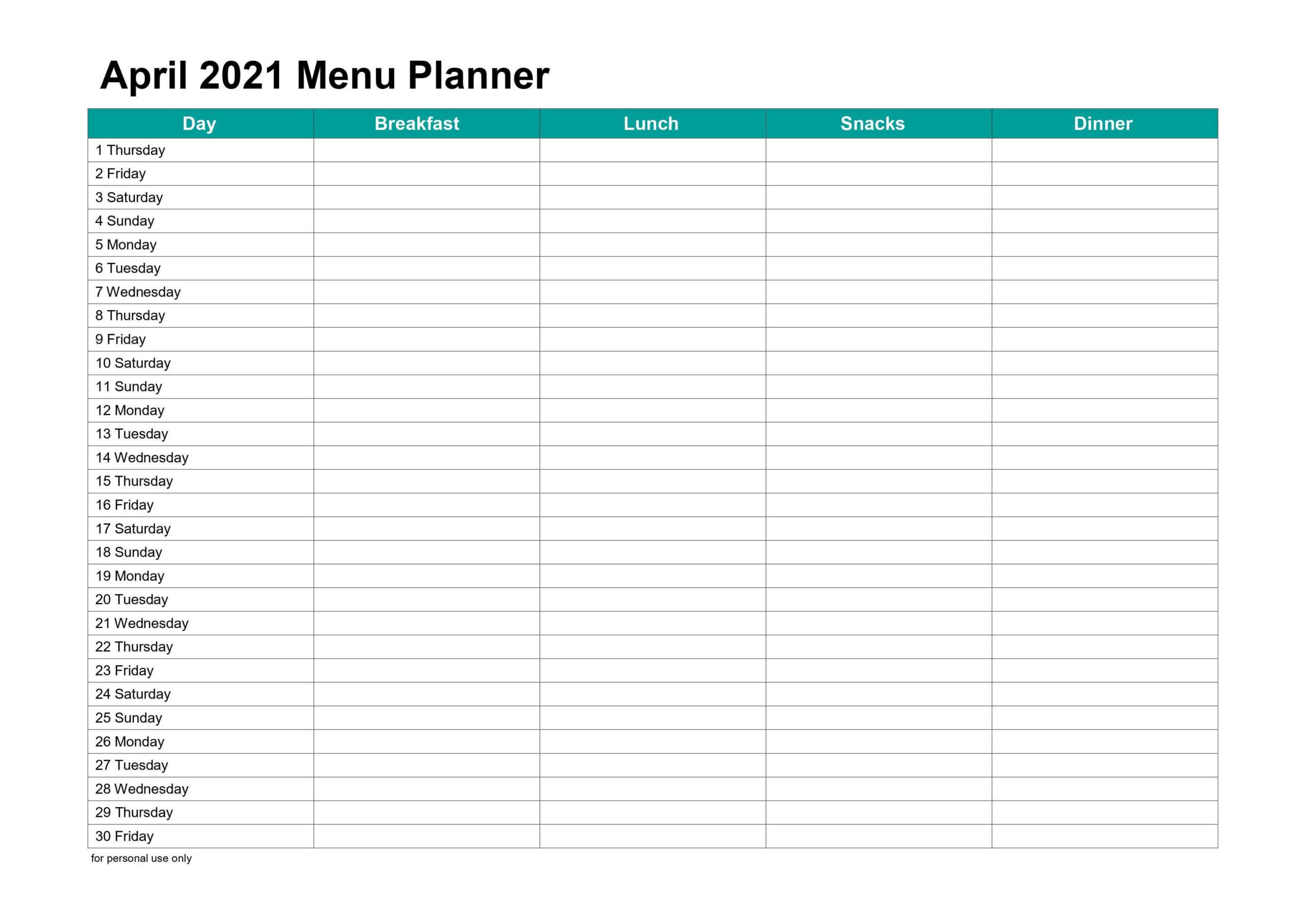April 2021 Menu Planner