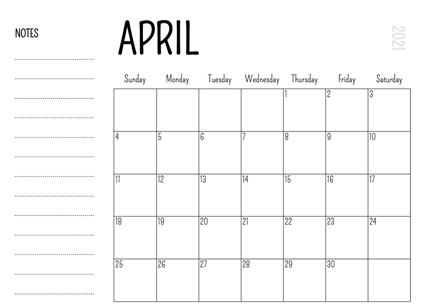 Blank 2021 April Calendar Template