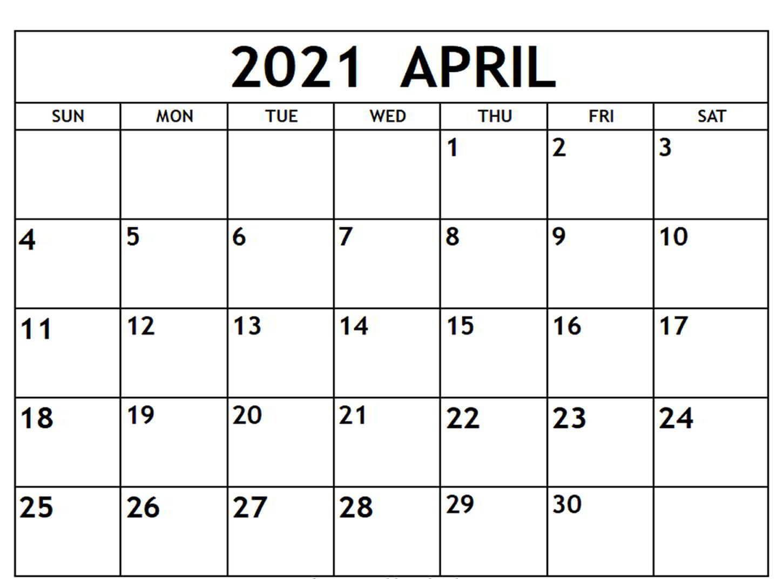 Blank 2021 April Calendar