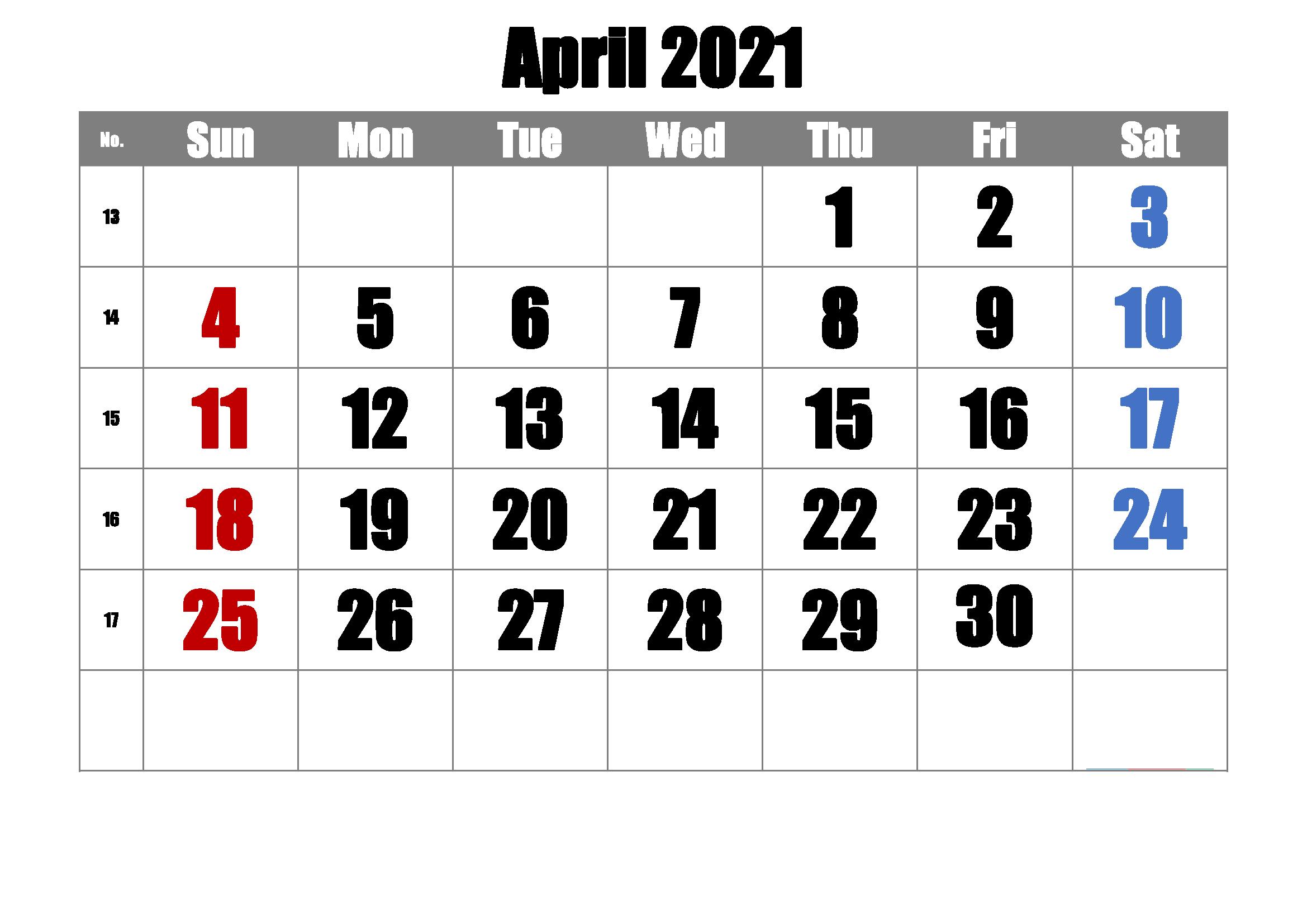 Blank 2021 April Calendar Printable