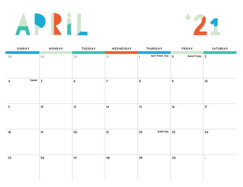 Cute April 2021 Calendar with Holidays