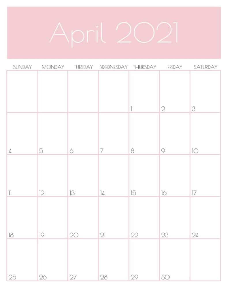 Cute April 2021 Desk Calendar